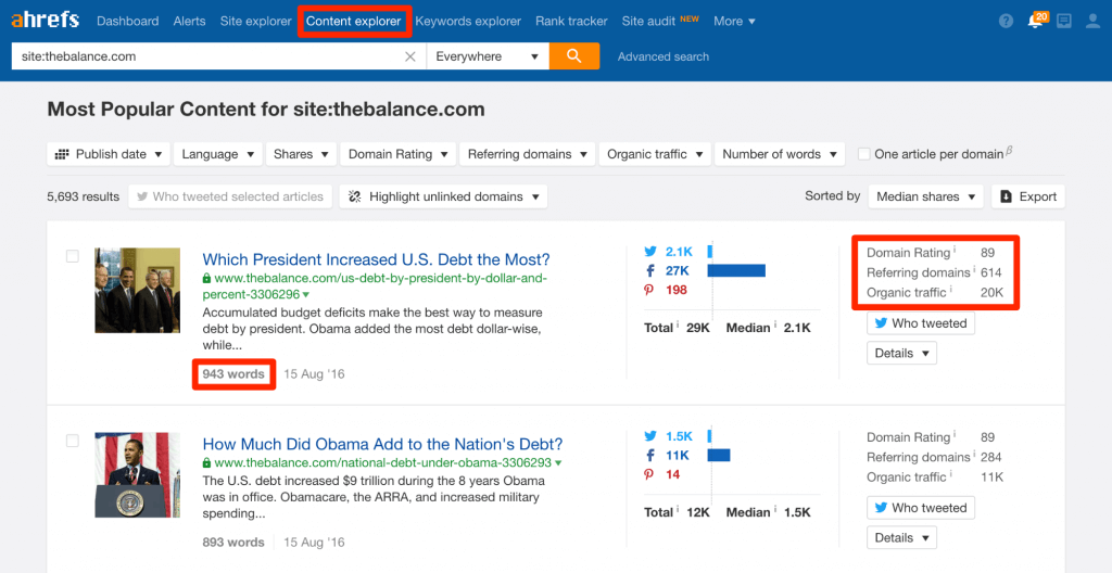 Screenshot of the content explorer tool in Ahrefs.